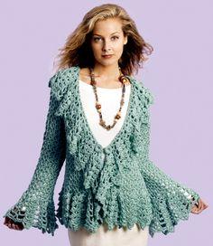 Deep V Flourish Sweater Jacket free crochet pattern http://www.favecrafts.com/Crochet-Clothes-Patterns/Flourish-Sweater-Jacket-Crochet-Pattern-from-Caron-Yarn/