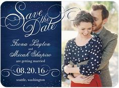 Twinkling Testament - Signature White Photo Save the Date Cards - Sarah Hawkins Designs - Navy - Blue : Front