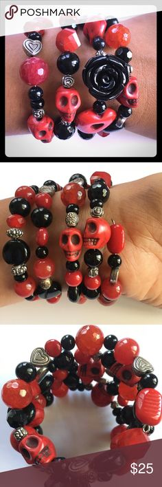 """Day of the Dead Memory Wire Bracelet, 4 loops This Day of the Dead memory wire bracelet is made out of Faceted Red Agate and Black Onyx Gemstones, Howlite skulls, glass and stone beads, silver plated spacers.                                                                                  Size: Adjustable to most wrists. It's shaped like a circle measuring roughly 2"""" in diameter. On smaller wrists it may wrap with some room and on larger wrists wraps fewer times. Jewelry Bracelets"""