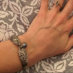 Beautiful bracelet with lavender bead Made of vintage silverware with strong and simple magnetic clasp. Jewelry Bracelets