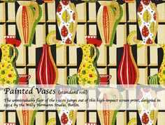 """""""Painted Vases"""" Vintage Textiles card by Museums and Galleries New Wallpaper, Pattern Wallpaper, Painted Vases, Pretty Patterns, Vintage Textiles, Surface Pattern Design, Textile Design, Printing On Fabric, Screen Printing"""