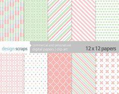 digital paper pack scrapbook baby girl easter by designscraps, $3.50