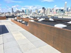 Custom fabrication of extra large corten steel planters on the rooftop - California - by Nice Planter LLC Corten Steel Planters, Side Wall, Rooftop, Patio, Nice, Fabric, California, Design, Tejido