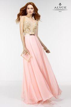 An elegant strapless Prom Dress by Alyce Paris.