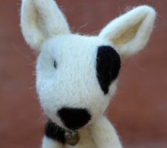 Needle Felted Wool Bull Terrier Puppy by TheWoollyPear on Etsy