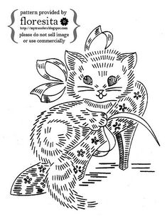 cute kitten in shoe - embroidery pattern / transfer