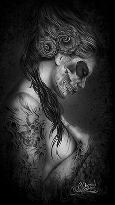 The Wives Dead Left canvas from Digoil Renowned. This canvas depicts a hauntingly beautiful women with a skeleton face and dark tattoos and roses in her hair.