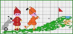 Free Cross Stitch Chart - Golf kids, from http://www.leschroniquesdefrimousse.com