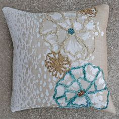 Jenna-Blue 20x20 Embroidered Pillow [#2088] Goemdee