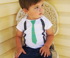 1st Birthday Boy // Birthday Boy Outfit // Vintage Inspired Mint Tie and Gray Suspenders // Mr. James. $19.00, via Etsy.