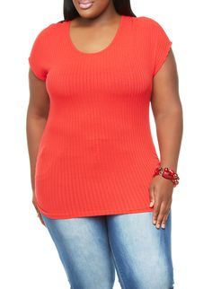 a99d4e807b0 Rainbow Shops Red Plus Size Solid Rib-Knit Short Sleeve Top with Ruched  Sides  14.99