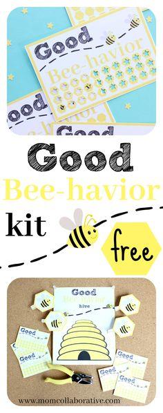Good behavior! Good Bee-havior punch card and chart kit free printable!