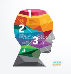 Geometric head design infographic template vector by pongsuwan on VectorStock®