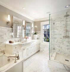 white marble bathroom by scavullo design interiors More