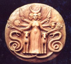 Celtic goddess Hekate Goddess of Wisdom (symbolized with snakes), Wild Creatures, the Moon and the Crossroads. One of my Pagan Goddess' Hecate Goddess, Snake Goddess, Celtic Goddess, Moon Goddess, Ancient Goddesses, Gods And Goddesses, Potnia Theron, Alexandre Le Grand, Mother Goddess