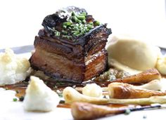 Braised pork belly with burdock-mushroom purée and parsnip ice cream