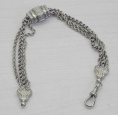 VICTORIAN ENGLISH STERLING SILVER ALBERTINA CHAIN W/ SLIDER AND DOG CLASP