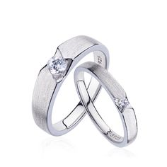 Matte 925 Silver Plated Platinum Couple Rings