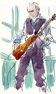 Lynne Chapman - Live music on Weston Park bandstand, Sheffield, UK.    Watercolour / 6B graphite stick. Browse more of my sketchbook portraits at www.lynnechapman.co.uk