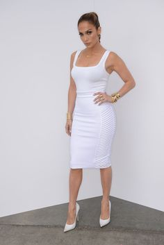 Jennifer Lopez in a bodycon dress. Love the look.