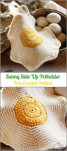Crochet Sunny Side Up Chicken Egg Potholder Free Pattern -Easter Crochet Chicken Potholder Free Patterns