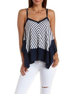 White/Blue Strappy Striped Trapeze Tank Top by Charlotte Russe from Charlotte Russe. Saved to All things smoke 💨💨💨💨💨💨.