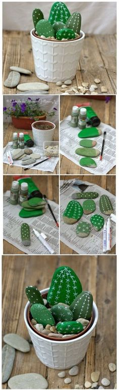 Painted Cactus Rocks. Rock painting has become very popular these days. Pick up rocks and paint them in the pattern of cactus, arrange them together with some natural rocks as you like in a flower pot for a stunning homemade centerpiece! #artideas