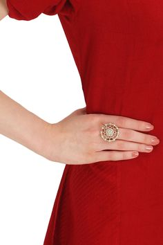 Silver finish seed pearl round jaal ring available only at Pernia's Pop Up Shop.