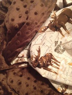 Chocolate Brown Dotted Minky | Moose Blanket by OMiloBlanketCo on Etsy. Moose nursery for the boy.