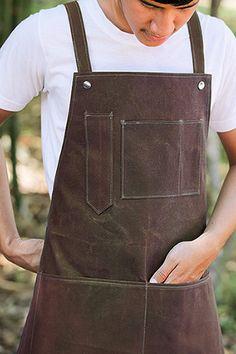 SALE   Discount + Waxed canvas + Y-Strap +  Apron  +  gardener  + barista + Handmade  +  brown by tomotenin on Etsy