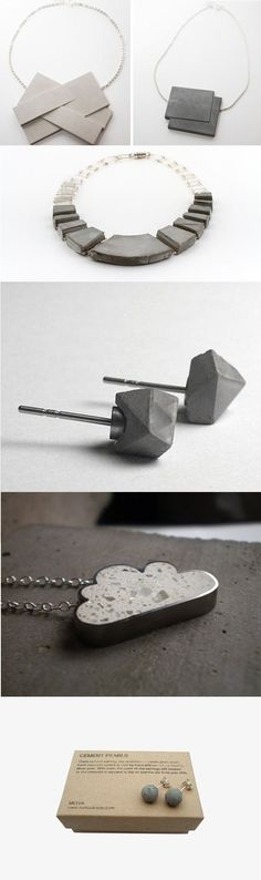 Chunky Concrete Jewellery - contemporary jewellery design // Bizuteria Betonu