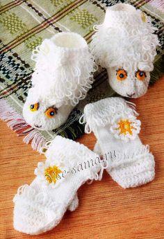 """Комплект """"Белые овечки"""": Варежки и носочки, фото"""