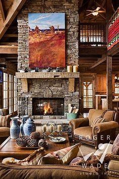Rustic fireplace - love painting size too