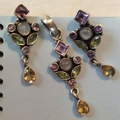 Beautiful sterling/precious stone set. Beautiful sterling silver and precious stone set. I love them, but never wear them. They need someone to wear them. Jewelry