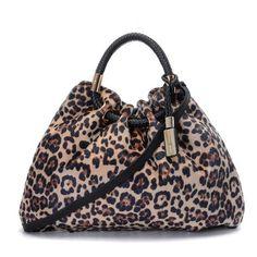 Michael Kors Skorpios Textured Leather Ring Tote Leopard