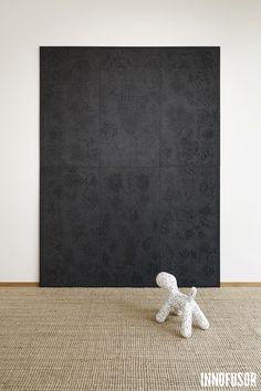 Gran Ru Pori acoustic wall art in an impressive all black color. See more at www.granru.com #Scandinavian #Design #Innofusor #Acoustics