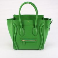 Celine Luggage Medium Green Handbags Black with Crocodile Pattern. Am I the only one who sees a funny face?