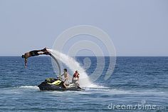 Unidentified Turkish man demonstrates flyboard acrobatics on the