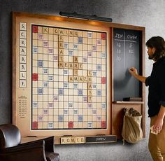 New on Restoration Hardware, and part of their vintage game collection, is this beautifully crafted and original Wall Scrabble version. The dramatically oversized wall-mounted Scrabble game increases the fun factor exponentially, keeping everyones fa Scrabble Board, Scrabble Wall, Scrabble Quilt, Ideias Diy, Jena, Basement Remodeling, Basement Ideas, Game Room Basement, Home Organization Tips