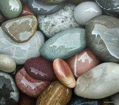 Irene's Choice egg tempera on panel by Phil Schirmer painting subjects Rock And Pebbles, River Pebbles, River Rocks, Tempera, Pics Art, Art Tutorials, Painting Inspiration, Painting & Drawing, Wall Drawing