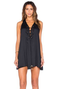 My Own Summer Isquia Lace Up Tunic With Horn Detail in Black