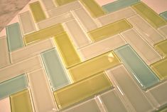 aqua, green and white glass tile for kitchen backsplash. Photo by Deborah Moebes.