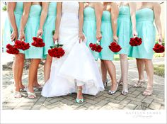 Red & Tiffany Blue Wedding Inspiration  Never would have put these two colors together, but I like it! :)