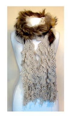 Crochet Wool and Fur Trim Scarf