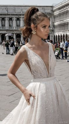 julie vino spring 2018 bridal sleeveless deep plunging v neck full embellishment romantic sexy a line wedding dress open v back royal train (05) zv