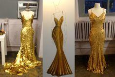 1.) Zac Posen's one-of-a-kind, 24-karat gold gown  Valued at $1.5 million. 2.) Zac Posen's sketch 3.) Zac Posen's ready-to-wear version $2,990