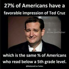 of Americans have a favorable impression of Ted Cruz which is the same % of Americans who read below a grade level. We Are The World, In This World, Troll, Political Views, Political Memes, Right Wing, Republican Party, 5th Grades, Social Issues
