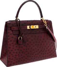 Hermes 28cm Bordeaux Ostrich Sellier Kelly Bag with Gold Hardware