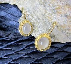 Moonstone Filigree Earrings Vintage Cat's Eye Chalcedony & Sterling Silver, Gold Wash, Lever Back, Early 1990s. by TampicoJewelry on Etsy