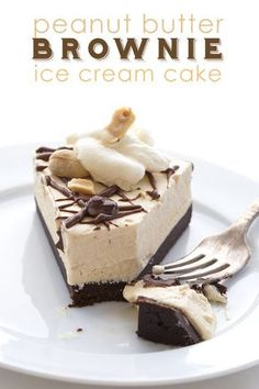 Low Carb Peanut Butter Brownie Ice Cream Cake. No Churn and No Bake!